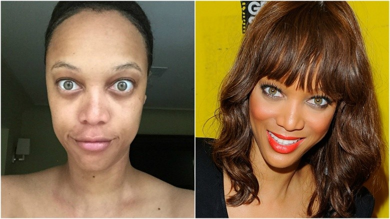 Tyra Banks with and without makeup